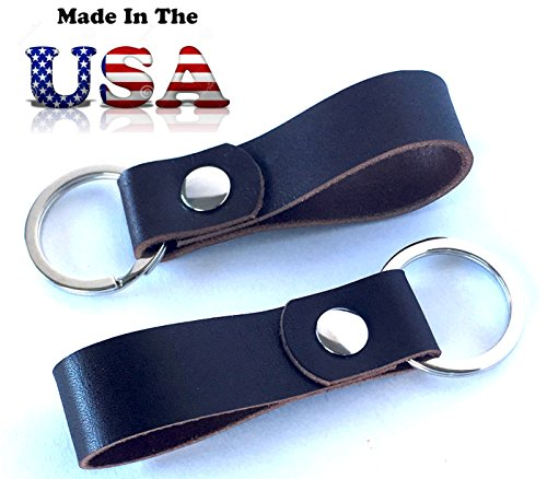 LEATHER KEY RING 2 PACK MADE IN USA dark brown, full grain oiled latigo leather, valet key, leather key fob, extra key chain, mother's day gift, father's day gift, office gift