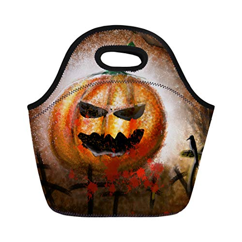 Tinmun Lunch Tote Bag Colorful Drawings of Pumpkin Demon on Halloween Day Yellow Reusable Neoprene Bags Insulated Thermal Picnic Handbag for Women (Halloween Pumpkin Head Drawings)