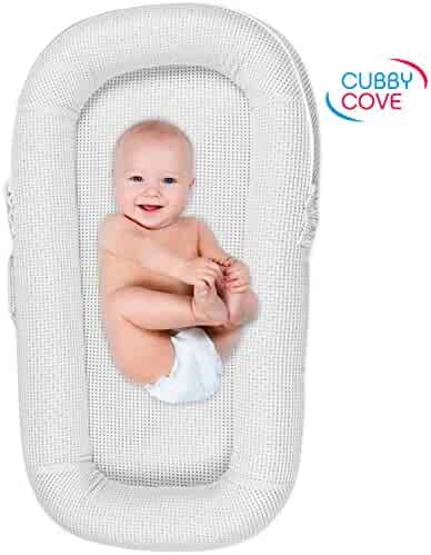 CubbyCove Baby Newborn and Infant Lounger with Canopy–Portable Bassinet, Nest for Cosleeping, Tummy Time and Lounging. Super Soft and Breathable. CPSIA Certified. Suitable 0-18+ Months (White)