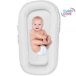 CubbyCove Baby Newborn and Infant Lounger with Canopy–Portable Bassinet, Nest for Cosleeping, Tummy Time and Lounging. Super Soft and Breathable. CPSIA Certified. (White)
