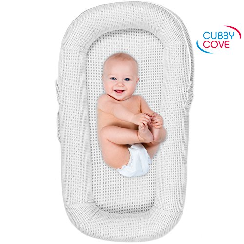 CubbyCove Baby Newborn and Infant Lounger with Canopy–Portable Bassinet, Nest for Cosleeping, Tummy Time and Lounging. Super Soft and Breathable. No Assembly Required. CPSIA Certified (White)
