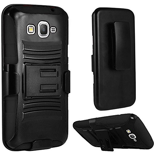 Samsung Galaxy J3,Galaxy amp Prime Case, Bastex Heavy Duty Protective Hybrid Kickstand Black Rubber Silicone Cover Hard Plastic Black Case With Holster Clip for Samsung Galaxy J3