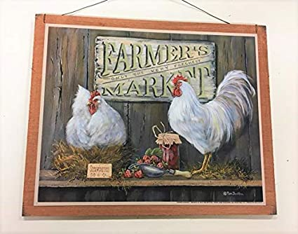 The Little Store Of Home Decor Farmers Market Rooster Kitchen Wooden Wall  Art Sign Farm Country