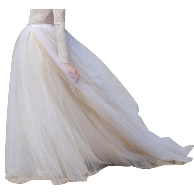 Para Dama De La Mujer Larga De Tul de novia falda con barrido tren Beige-White  Talla 34  Amazon.es  Ropa y accesorios 8ffcd4f9c63e