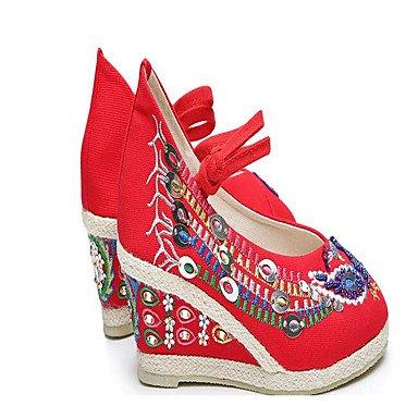 Chaussures Mariage Tissu ggx Printemps De Plat Femme Lvyuan Rouge Noir Vert Green 7w4OnCqn