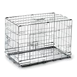 SmithBuilt 20'' Extra Small Portable Dog Crate Cage with Divider - Folding Two-Door Wire Pet & Animal Kennel - Metal Tray Pan - Silver