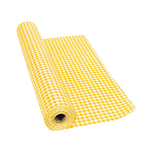 Yellow Gingham Tablecloth Roll (100 ft) Checkered Design