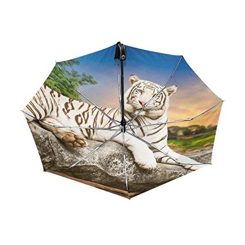 Tiger Pattern Print Lightweight UPF 50+ Anti-UV Parasol Waterproof Windproof Reverse 3 Folds Auto Open Close Umbrella