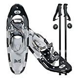 ALPS Adult All Terrian Snowshoes Set for Men,Women,Youth with Trekking Poles,Carrying Tote Bag 22''/25''/27''/30''/34'' (Grey, 21'')