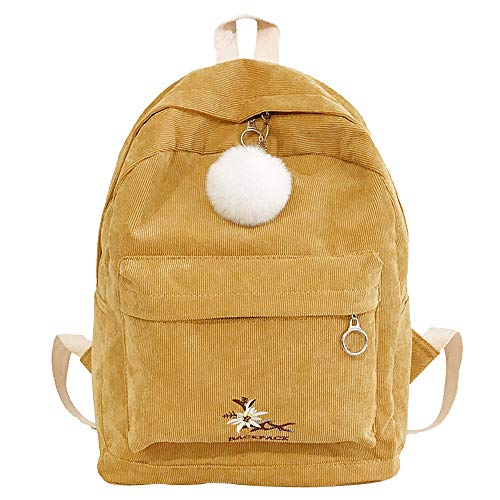Computer Icon Wheeled Bag (Women Travel Shoulder Bag Fashion Girl Corduroy School Bag Backpack Hairball)