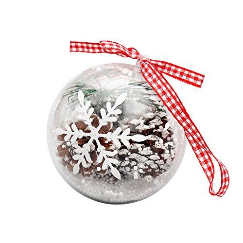 DongDong☃ 1Pcs Christmas Bow Clear Balls Hanging Ornament Decor Baubles Party Xmas Tree Decorations,Big
