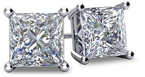 NANA Silver Princess CZ Stud Earrings with 14k Solid Gold Post-5.0mm-1.50cttw-Platinum Plated