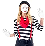 Women's Mime Costume Set with Makeup Kit (Adult Small)
