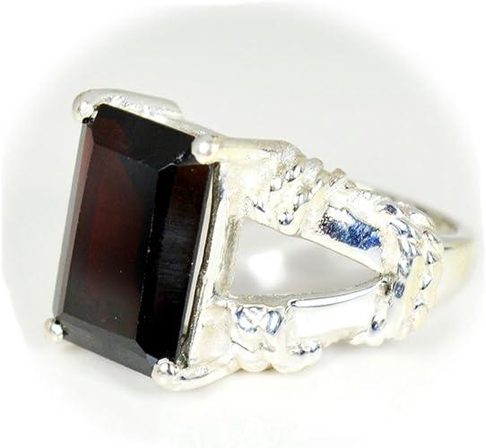 Amazon Com Jewelryonclick Natural Emerald Cut Garnet Ring