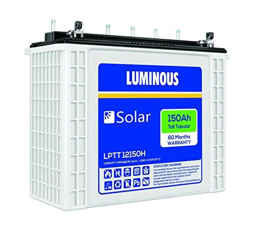 Luminous LPTT12150H 150Ah Tall Tubular Solar Battery 2021 June Package contains : Pack of 1, 150Ah tall tubular Solar Battery Tall Tubular Technology; Capacity : 150 Ah; Warranty : 60 Months Long cycles (1500 @80% DOD, 5000 @ 20% DOD); AH efficiency > 90%; WH efficiency > 80%