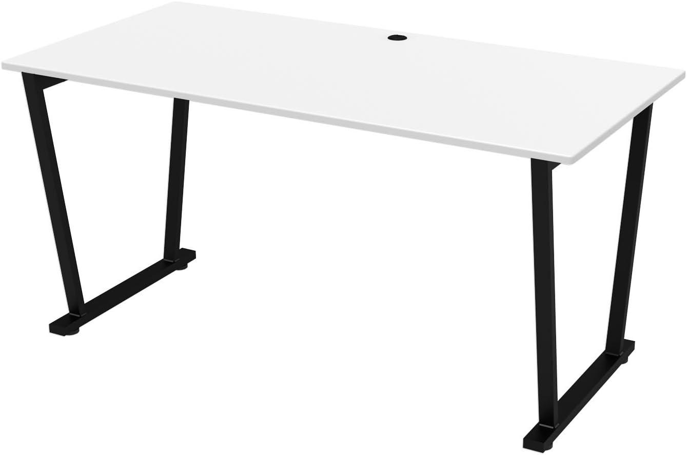 Offex - Mesa de escritorio fija con superficie blanca y marco ...