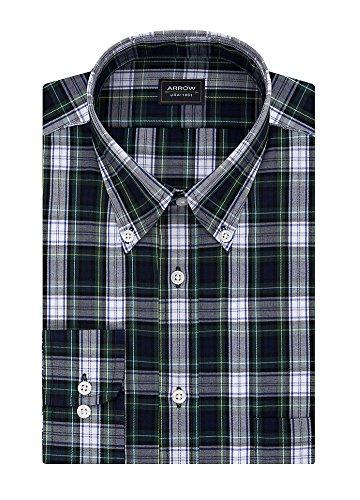 Arrow Men's Big&Tall Classic-Fit Plaid Poplin Wrinkle Free Dress Shirt, Pacific Blue