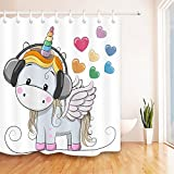 Cute Shower Curtains LB Cute Cartoon Unicorn n Music Heart Unique Shower Curtain, Unicorn Theme Design House Decor for Bathroom, 70x70 Inch Fabric Shower Curtain Waterproof Anti Mold