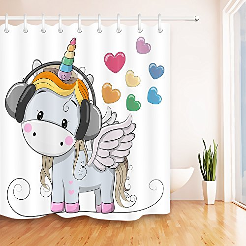 LB Cute Cartoon Unicorn n Music Heart Unique Shower Curtain, Unicorn Theme Design House Decor for Bathroom, 70x70 Inch Fabric Shower Curtain Waterproof (Hearts Shower Curtain Set)