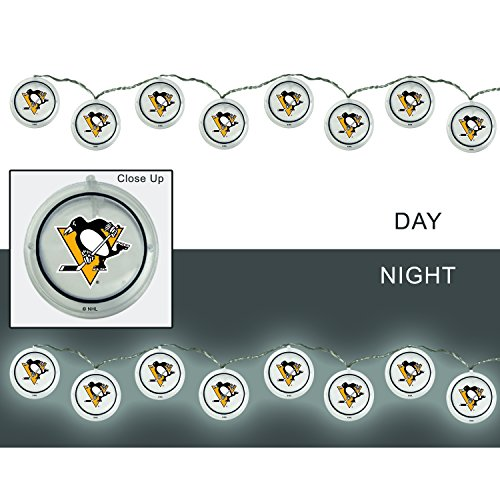 Pittsburgh Penguins Acrylic (Team Sports America Pittsburgh Penguins Outdoor Safe Battery Powered String Light Set)