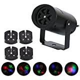 JUDYelc Festival Celebration LED Stage Light Decoration Automatic Rotation Function 20 Patterns with 4 Lens Fit for Children's Halloween Valentine's day and Christmas(Household Type)