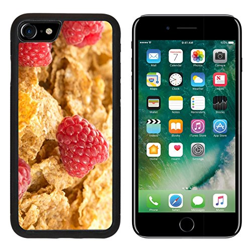 MSD Premium Apple iPhone 7 iPhone7 Aluminum Backplate Bumper Snap Case IMAGE ID: 32235925 Cereal flakes with fresh raspberry closeup