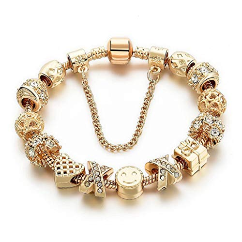 Charm Bracelets for Women Gold Plated Snake Chain Heart Shape Smile Rhinestone Beads Charming Girls Mom Gift]()