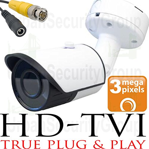 USG 3MP 2048×1536 Bullet Security Camera : 2.8mm Wide Angle HD Lens : Weatherproof Vandal-proof : 24x IR LEDs : BNC Connector : Deep Extension Mount Box : Works With HD-TVI, Analog + AHD DVRs For Sale