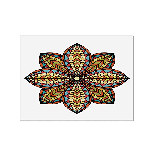 (C COABALLA Mandala Heat Resistant Table Mat,Floral Motif Geometric Colorful Petals Curvy Elliptic Design Ethnic Traditional Art for Dining,15.7