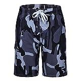 Men's Swim Trunks Quick Dry Camo Board Shorts Daily Beach Shorts with Pockets