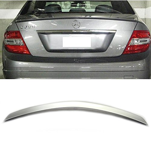 Pre-painted Trunk Spoiler Fits 2008-2014 Benz C-Class | AMG Style ABS Painted #744 775 Silver Metallic Rear Tail Lip Deck Boot Wing Other Color Available By IKON MOTORSPORTS | 2009 2010 2011 2012 2013