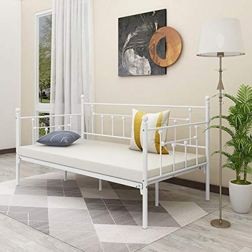 Alazyhome Metal Daybed Frame Twin Size Platform No Box Spring Needed with Vintage Headboard and Footboard Premium Steel Slat Support Mattress Foundation White