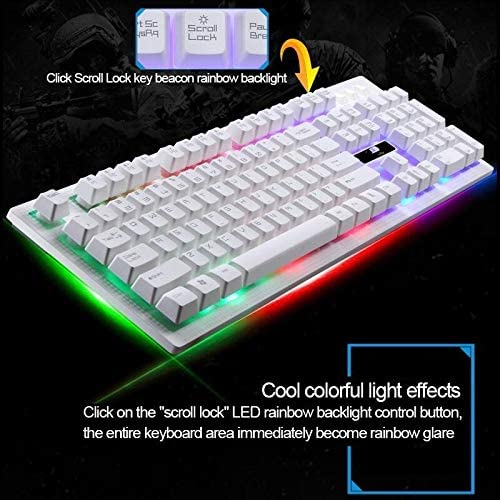 PC etc Color : White Ysswjzz Mechanical Gaming Keyboard,104 Keys Wired Mechanical Feel RGB Backlight Computer Keyboard Gaming Keyboard for Laptop