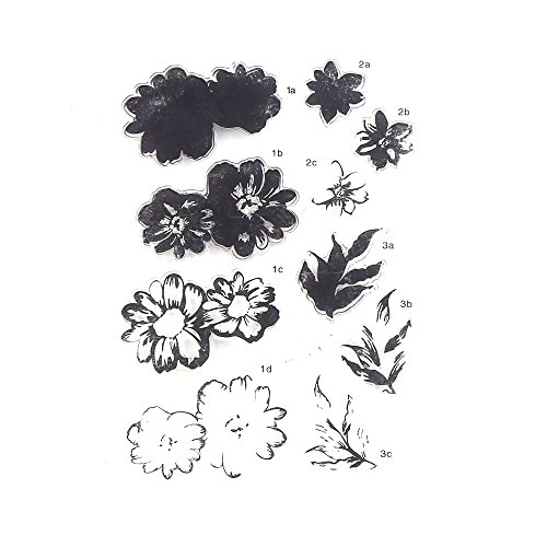 DECORA 1 Piece Color Layering Flower Clear Rubber Stamp for Scrapbooking and Cards Decoration.