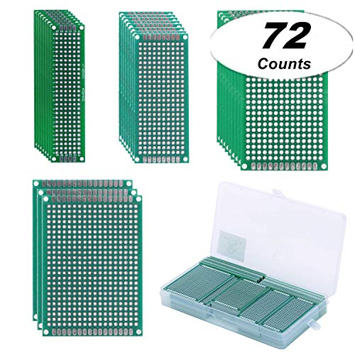 Double Sided PCB Prototype Board PCB Kit with Bonus Case, TAKSDAI 72 Pieces 4 Sizes Prototype Board Universal PCB Board DIY Protoboard Handy for Soldering Electronics Project Experiment