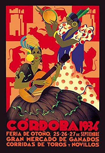 (Spanish poster celebrating the Fall festival in Cordoba in 1934 Two women in colorful tradional Spanish dress play instruments are the focal point of the promotional poster Poster Print by Unknown (2 )