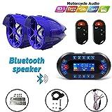 12V Radio 3 inch Motorcycle ATV UTV Golf Cart Waterproof Anti-theft Bluetooth Speaker