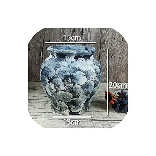 TOUCH-U vases Simple Chinese Dried Flower Vase Creative Stoneware Breathable Vase Fashion Retro Living Room Bedroom Decorative Vase 24,Color22