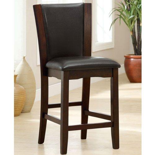 Manhattan Dark Cherry Finish Black Leatherette Padded Counter Height Chairs (Set of 2)