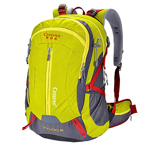 Price comparison product image Creeper Outdoor Sports Camping Hiking Waterproof Backpack Daypacks Mountaineering Bag 40L 50L Travel Trekking Rucksack with Rain Cover (Yellow, 50L)