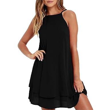 cd4936d9013ed4 Amazon.com  Women 2018 Summer Casual Loose Spaghetti Strap Mini Short Chiffon  Dress Sleeveless Beach Sundress  Clothing