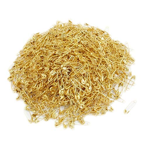 1000 pcs Exquisite Small 19mm Gold Tone Metal Clothing Accessories Trimming Fastening Safety Pins (Gold, 1000pcs)