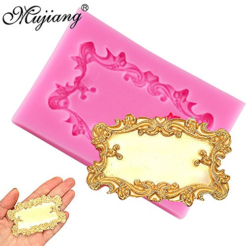 Star Trade Inc - Rectangular Decorative Plaque Tag Scroll Silicone Mold Frame Fondant Chocolate Candy Polymer Clay Mold Cupcake Cookie Baking