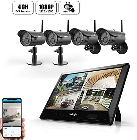 Wireless WiFi Security Camera System 4Pcs , UNIOJO 1080P NVR with 10.1 inches LCD Touch Screen Monitor, 4 HD 2.0 Megapixel Night Vision IP66 Waterproof IP Security Surveillance Camera