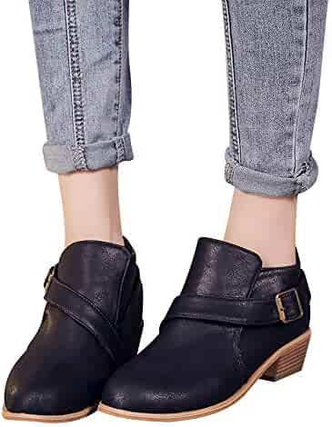 6bab6d0bcc79 Xturfuo Women's Shoes Western Ankle Bootie Closed Toe Casual High Help  Single Boot