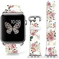 Iwatch Band Leather 42mm,Apple Watch Strap Genuine Leather Replacement 42mm - pink big freshing elegant rose art...