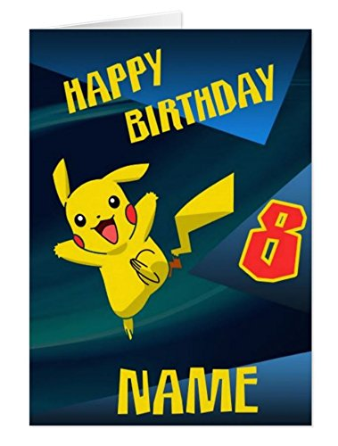 Pokemon PIKACHU Personalised Birthday Card Amazoncouk Kitchen Home