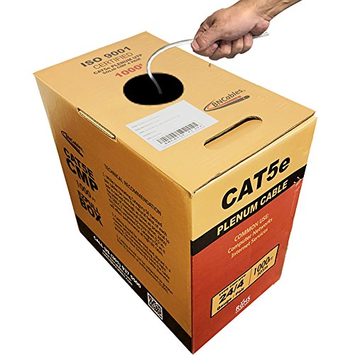 Cat5e Solid Core - 1000FT Solid Cat5e Plenum (CMP) Network Cable Easy Pull Box - White