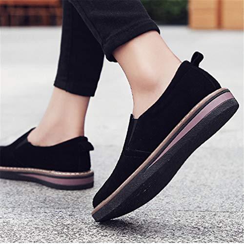 da Autunno Mocassini Femminile Appartamenti Sneakers Scarpe in Pelle Scamosciata Barca Handmade Nero Donne Slip 58vwZfqZx
