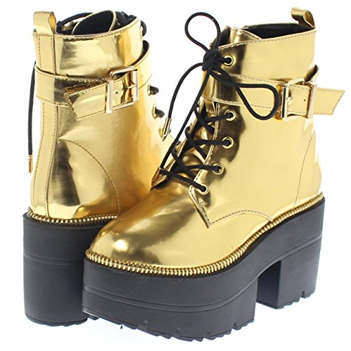 Shoe Republic Metallic Reflective Chunky Platform Boots Harrison (Gold 11)